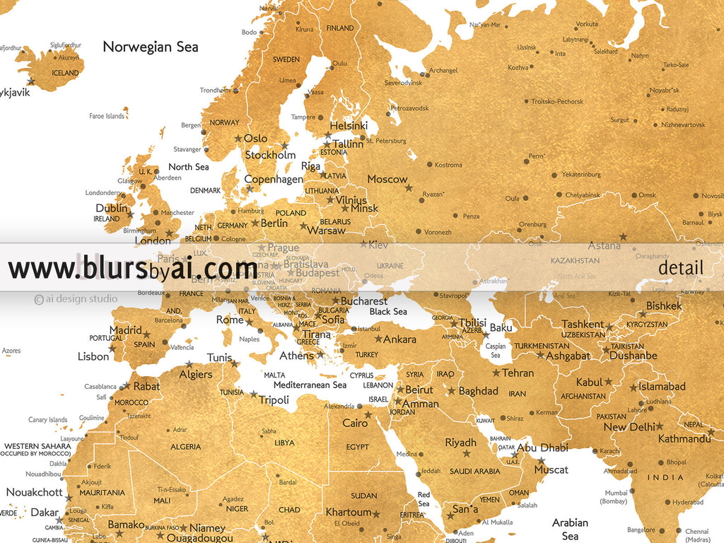 Large World Map Printable.Printable World Map With Cities In Dark Gold Foil Blursbyai