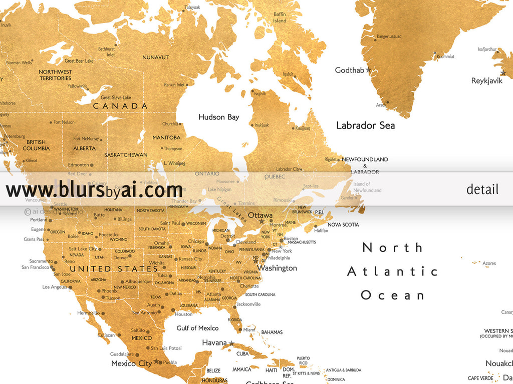 Printable world map with cities in dark gold foil blursbyai