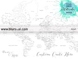 Custom blank world map print with cities for coloring using watercolors