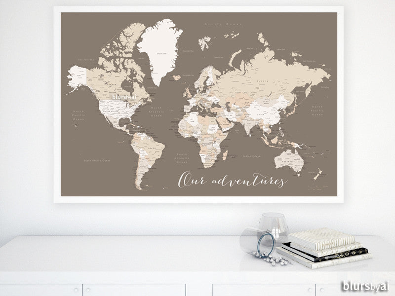 Custom quote, color and size printable world map with cities, capitals, countries, US States, Canadian provinces, Oceans... labeled.