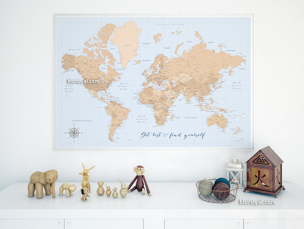 Vintage style world map printable art, get lost & find yourself, large 36x24""
