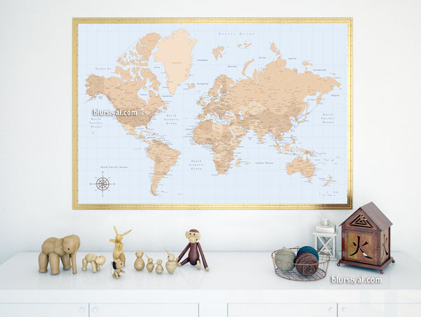 Vintage style world map printable art, large 36x24""