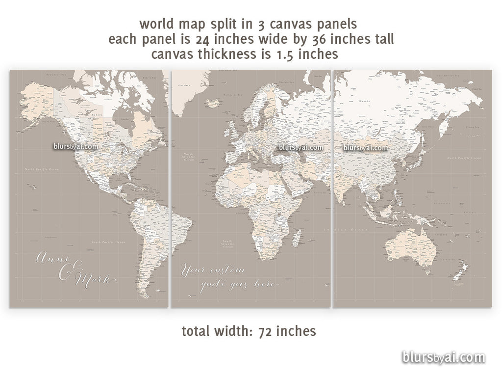 "Custom quote - Set of 3 canvas prints or push pin maps - Multi panel, highly detailed, world map with cities. ""Light earth tones"""