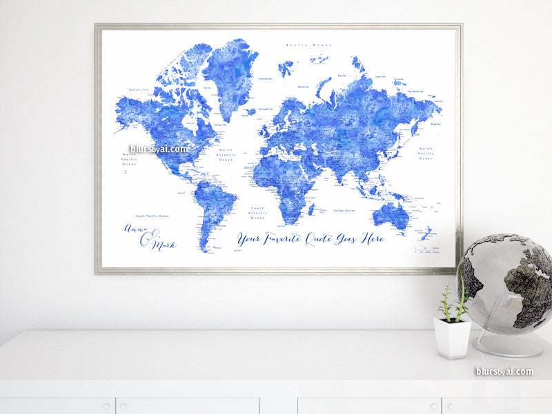 Custom quote - blue watercolor printable world map with cities, capitals,  countries, US States... labeled. Color combination: Emil