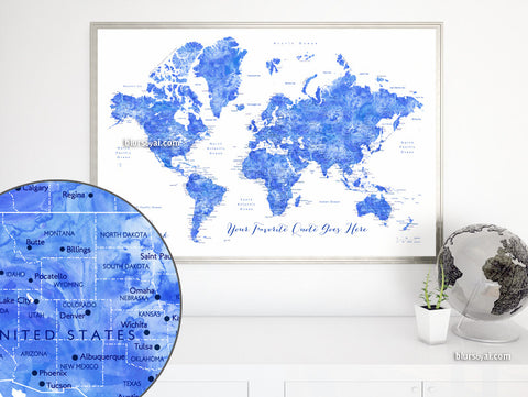 Custom quote - blue watercolor world map with cities, capitals, countries, US States... labeled. Color combination: Emil