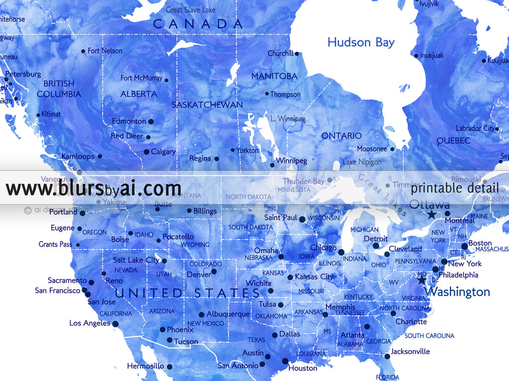 Personalized World Map Printable Art In Blue Watercolor Effect - Us map color