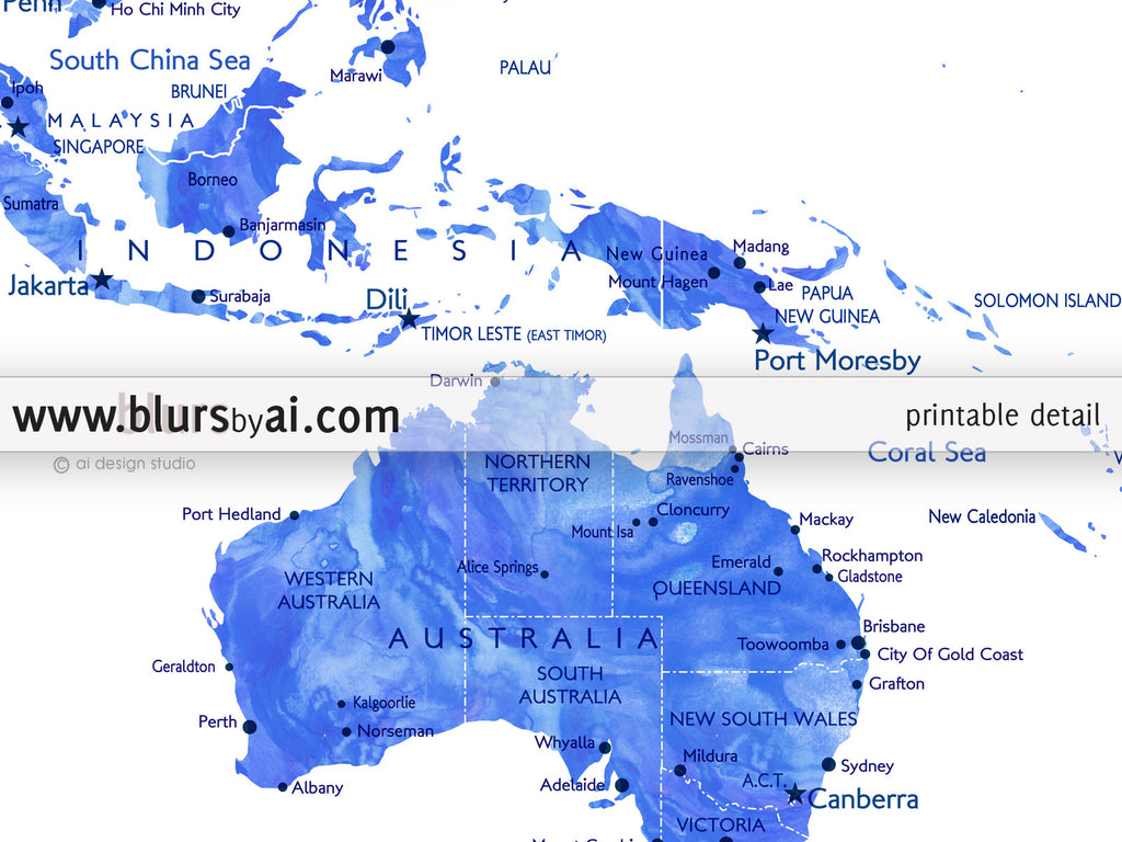 Personalized World Map Printable Art In Blue Watercolor Effect - Map Of The Us States Labeled