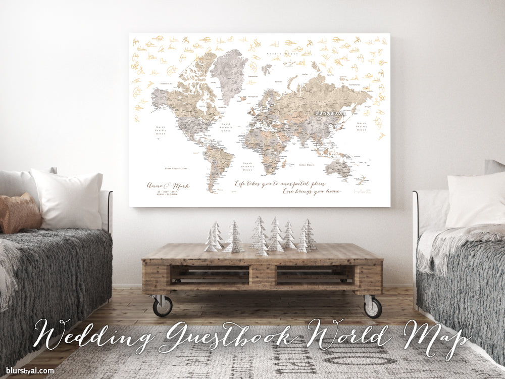 Wedding guestbook map custom watercolor world map with cities wedding guestbook map custom watercolor world map with cities canvas print push pin gumiabroncs Image collections