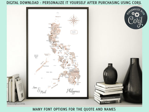"Personalized PRINTABLE map of Philippines, ""Abey"", edit-it-yourself using CORJL - Instant download"