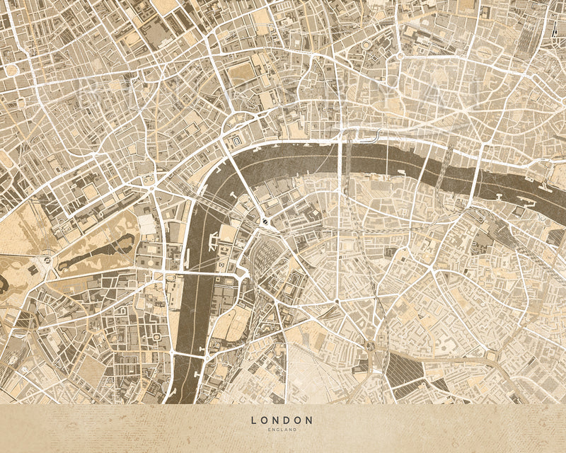 Personalized vintage (but current) city map as art print on paper
