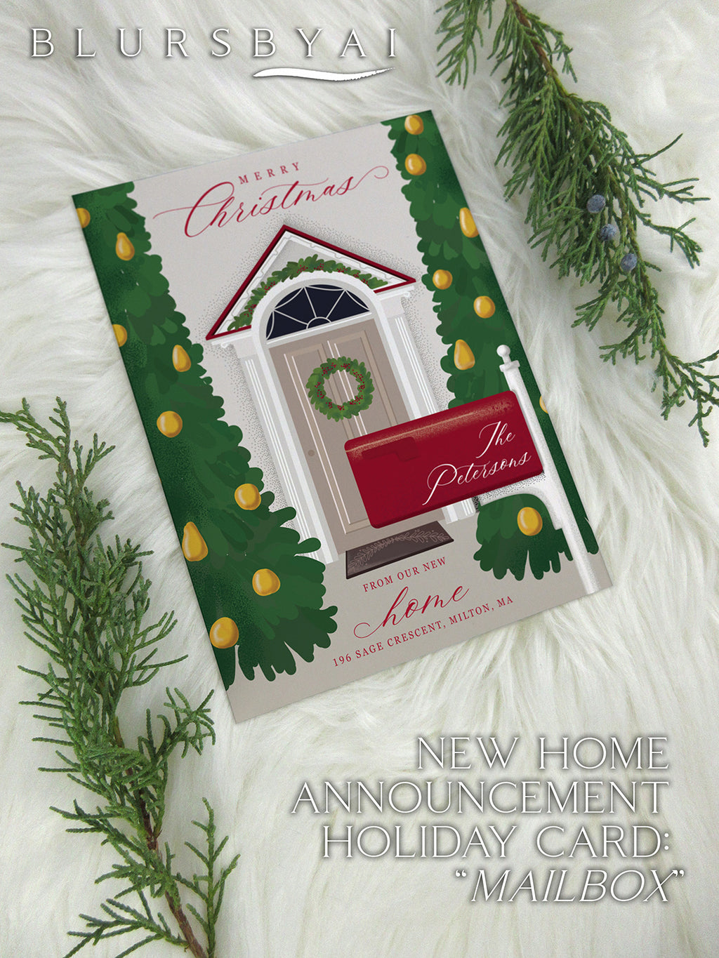 Mailbox - Custom printable Holiday illustrated card, new home announcement