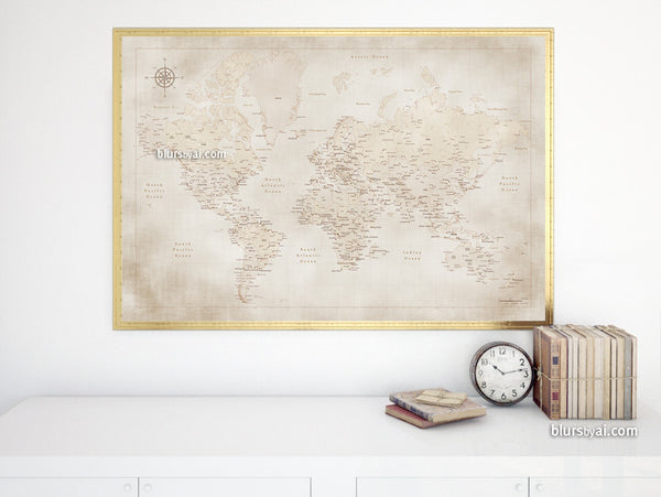 Printable vintage style world map with cities, 36x24""