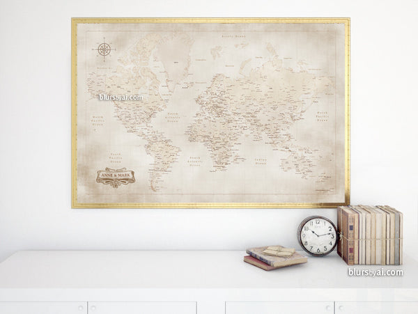 picture relating to Vintage Map Printable referred to as Personalized names - Printable entire world map with towns in just traditional design and style