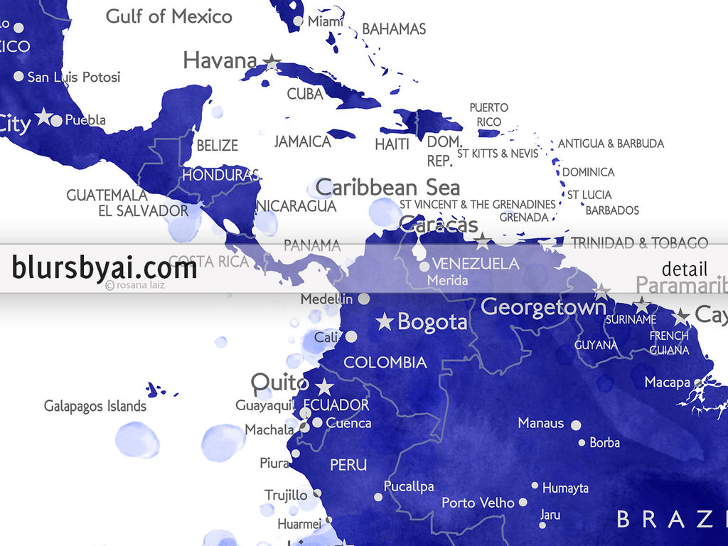photo about Printable Map of Havana identified as Tailor made printable army blue watercolor entire world map with metropolitan areas, capitals, international locations, US Says categorized. \