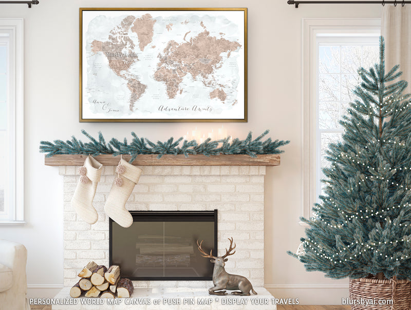 "Custom world map with US state capitals, cities, states and countries, canvas print or push pin map in neutrals. ""Calista"""