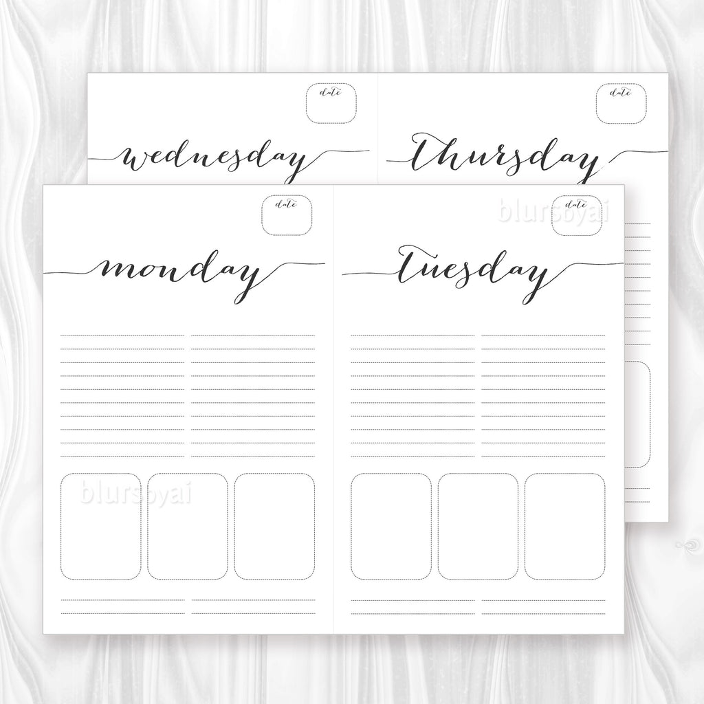 printable daily planner or to do list in black calligraphy letter and half letter sizes