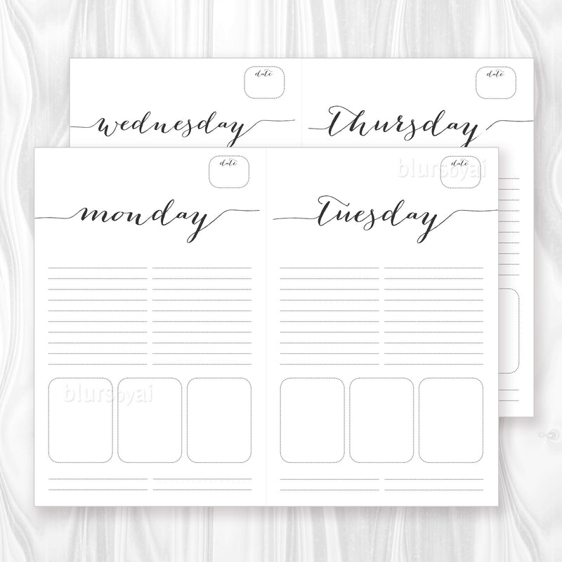 Printable daily planner or to do list in black calligraphy, letter and half letter sizes