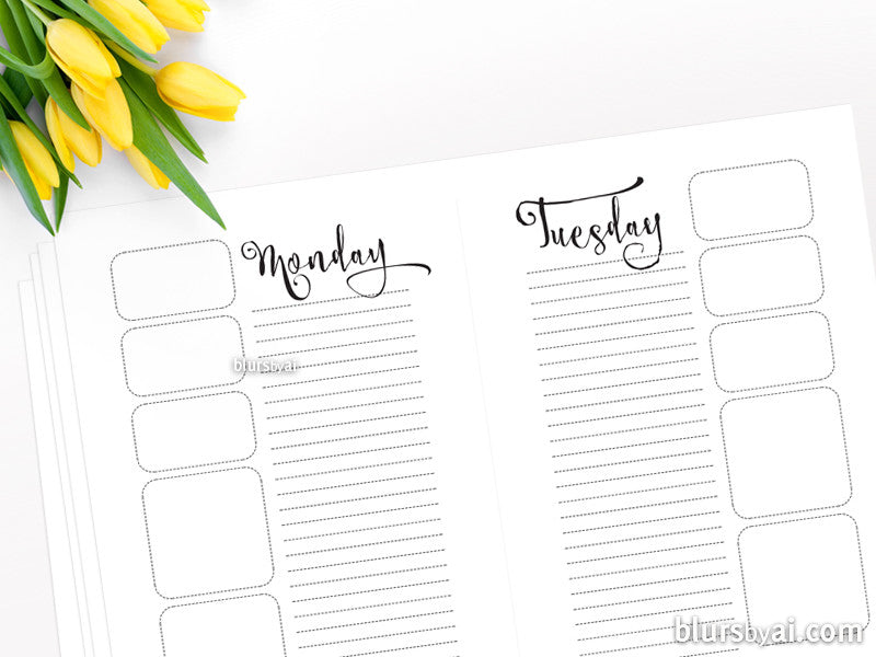 A5 printable daily planner and notes sheet