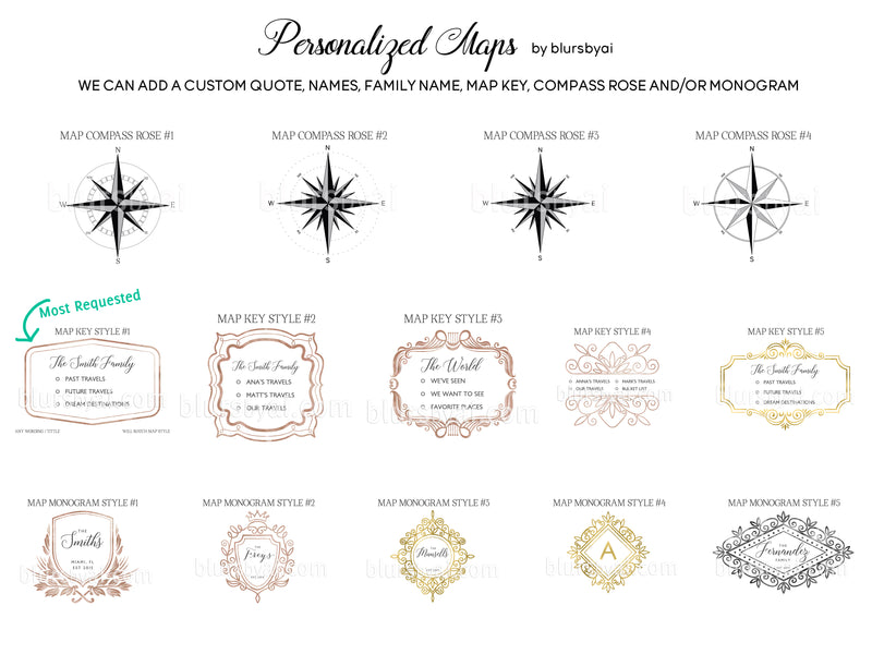 "Personalized map of Mexico, canvas print or push pin map in watercolor neutrals. ""Abey"""