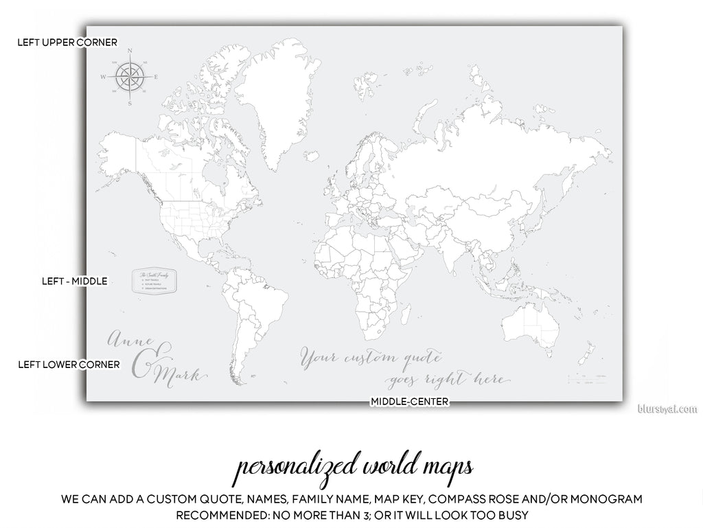 Personalized map print world map with countries and states in black personalized map print world map with countries and states in black and gray gumiabroncs Gallery