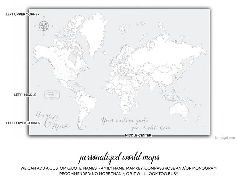 "Custom world map print - highly detailed map with cities in light gray. ""Cristina"""
