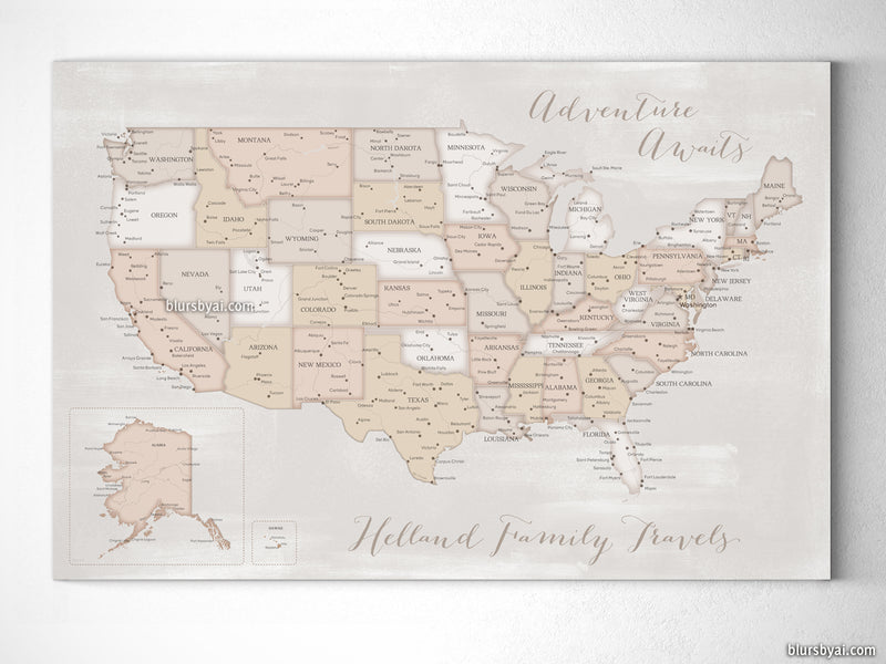 "Custom US map, canvas print or push pin map in rustic farmhouse style. ""Lucille"""