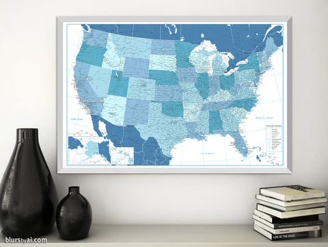 "Custom US map print: highly detailed map of the US with roads. ""Ethan"""