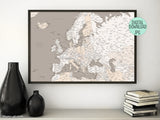 "Printable map of Europe, 36x24"", ""light earth tones"""