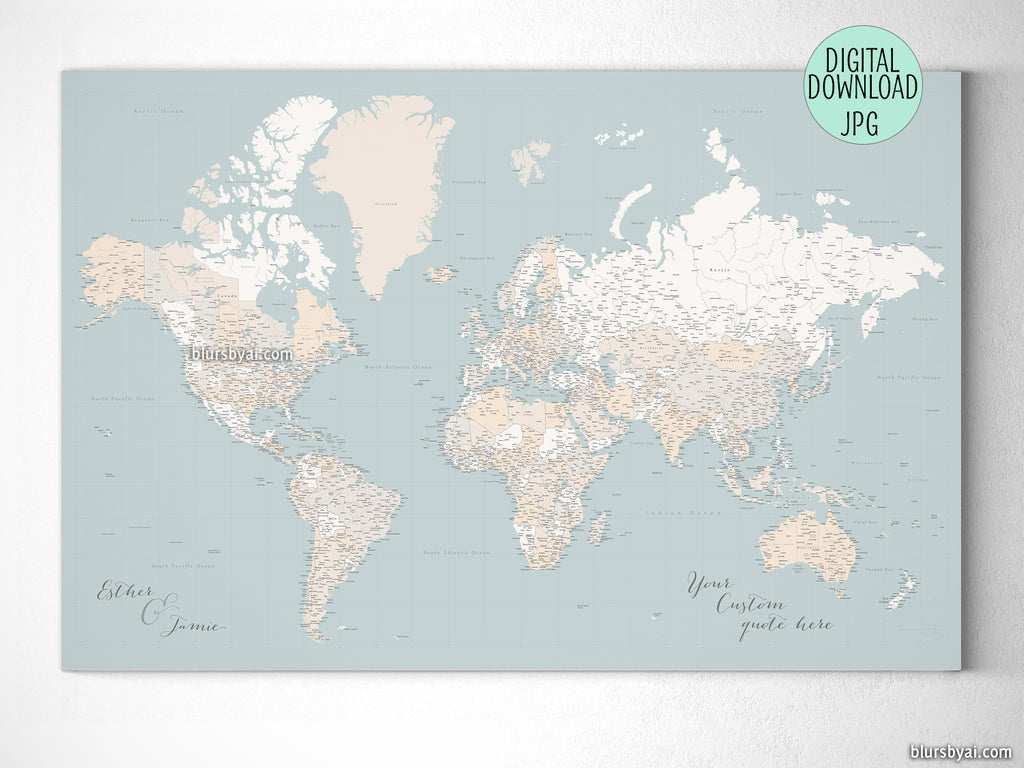 "Customized PRINTABLE highly detailed world map with cities. ""Tiara"""