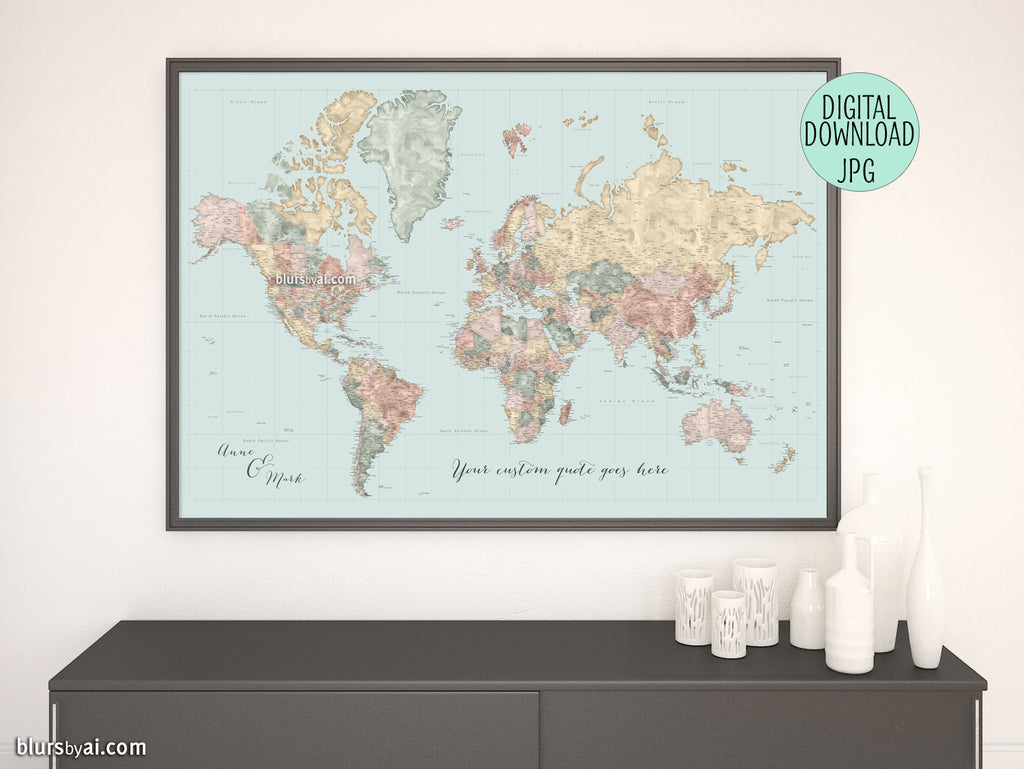 "Customized PRINTABLE highly detailed world map with cities. ""Michel"""