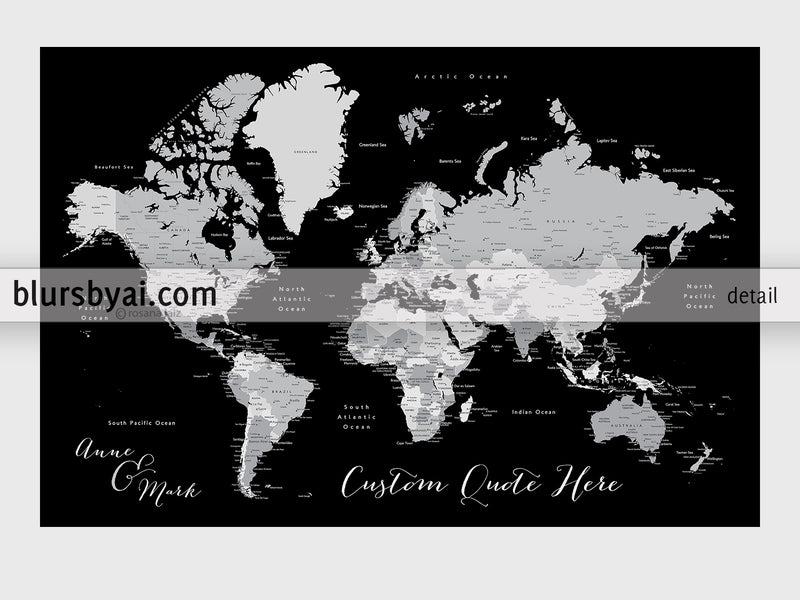 "Custom quote printable world map with cities, capitals, countries, US States... labeled. ""Joseph"""