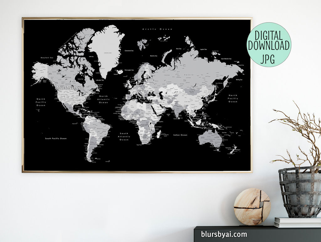 "Black and grey printable world map, 60x40"", 36x24"", ""Joseph"""
