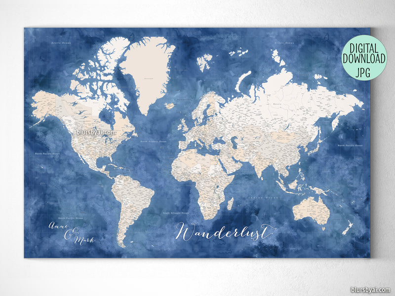 "Customized PRINTABLE highly detailed world map with cities. ""Hudson"""