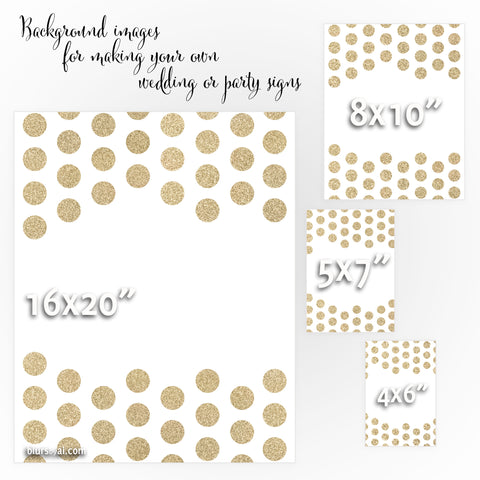 Gold glitter polka dot background images for making your own wedding signs or party signs: Lucia