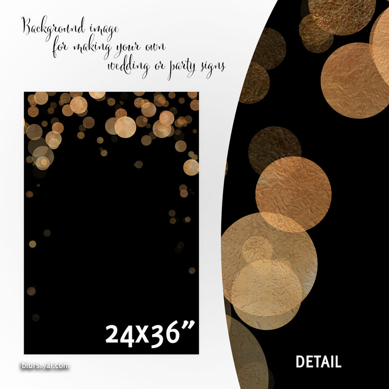 Black and copper confetti background images for making your own wedding signs or party signs, 24x36""