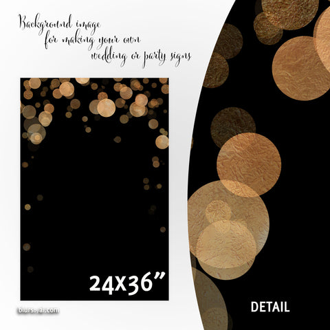 Commercial use - Black and copper confetti background images for making wedding signs or party signs, 24x36""
