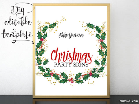 "8x10"" - DIY Printable sign template for Word. Make your own Christmas party signs, holly wreath design"
