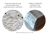 "Personalized world map with cities, canvas print or push pin map in beige, brown, aquamarine and grey. ""Romy"""