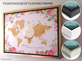 "Personalized large & highly detailed world map canvas print or push pin map, muted aqua and brown, ""Tiara"""