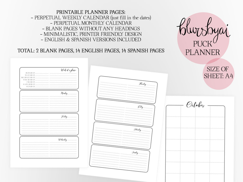 graphic relating to Spanish Printable referred to as A4 printable planner fixed: the Puck Planner. Black and white. Spanish and English planner.
