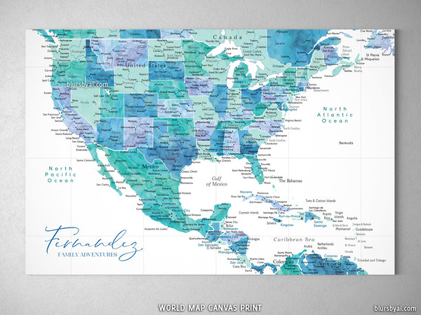 Custom map of the USA, Mexico and the Caribbean Sea, canvas print or push  pin map in aquamarine. \