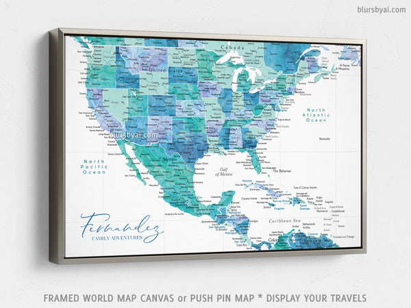 "Personalized map of the USA, Mexico and the Caribbean Sea, canvas print or push pin map in aquamarine. ""Peaceful waters"""
