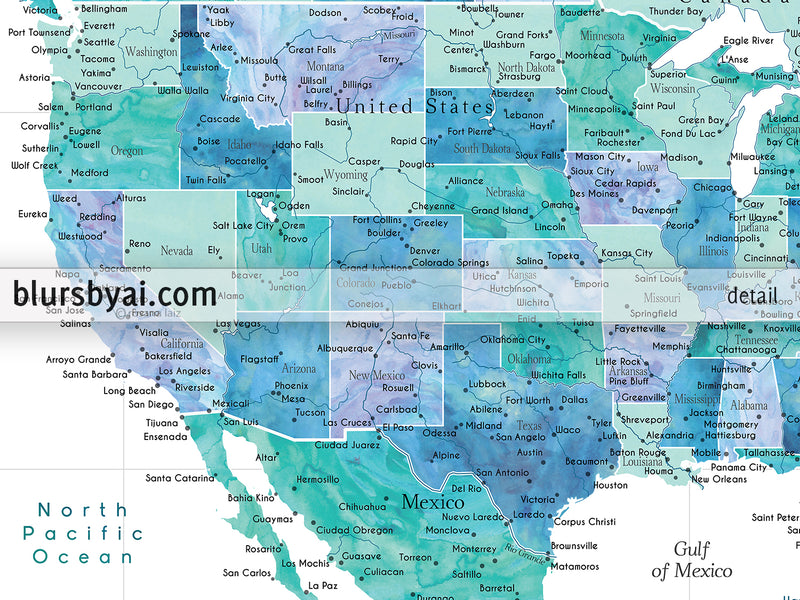 "Personalized PRINTABLE map of the USA and the Caribbean sea. ""Peaceful waters"", edit-it-yourself using CORJL - Instant download"