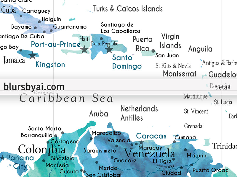 "Custom map print: USA, Mexico and the Caribbean Sea in turquoise watercolor. ""Peaceful waters"""