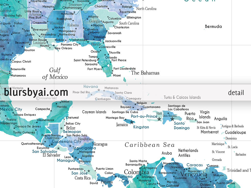 Custom map of the USA, Mexico and the Caribbean Sea, canvas print or ...