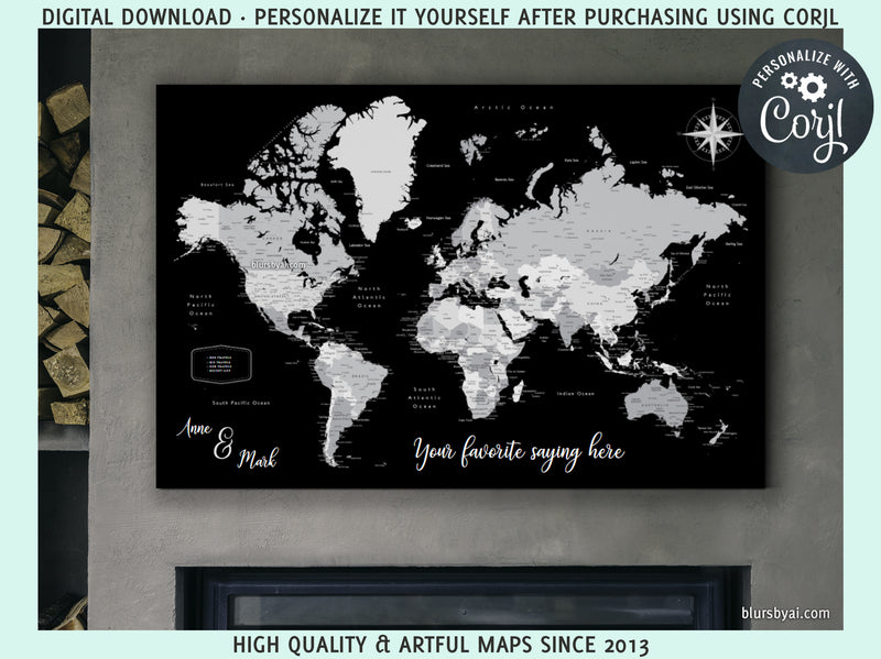 "Personalized PRINTABLE world map with cities, ""Joseph"", edit-it-yourself using CORJL - Instant download for PERSONAL USE"
