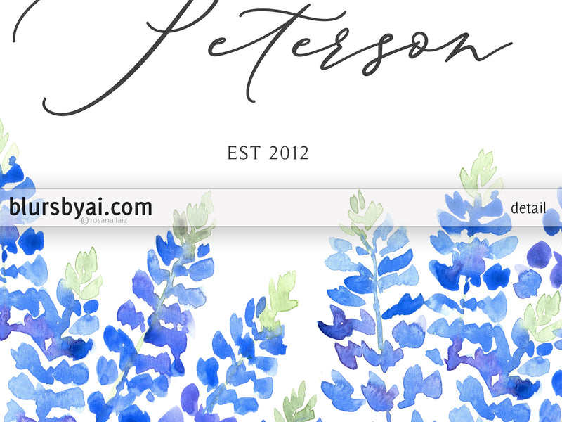 Personalized PRINTABLE family name sign with Texas bluebonnets - Edit with Corjl
