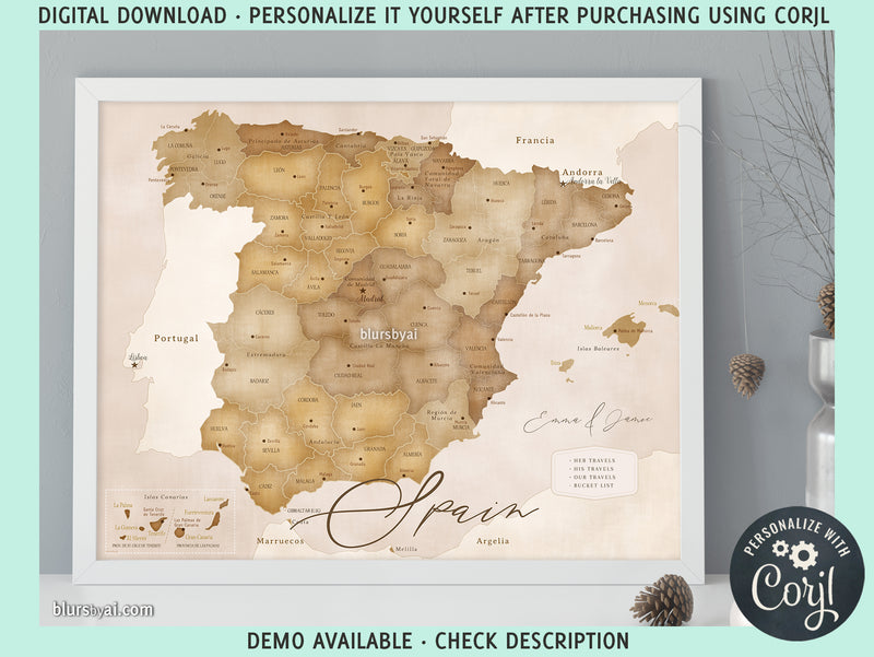 Personalized PRINTABLE map of Spain in sepia, edit-it-yourself using CORJL - Instant download