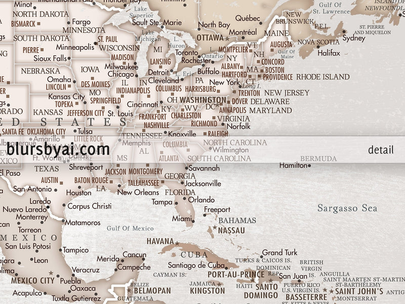 "Personalized PRINTABLE world map with cities, ""Lucille"", edit-it-yourself using CORJL - Instant download for PERSONAL USE"