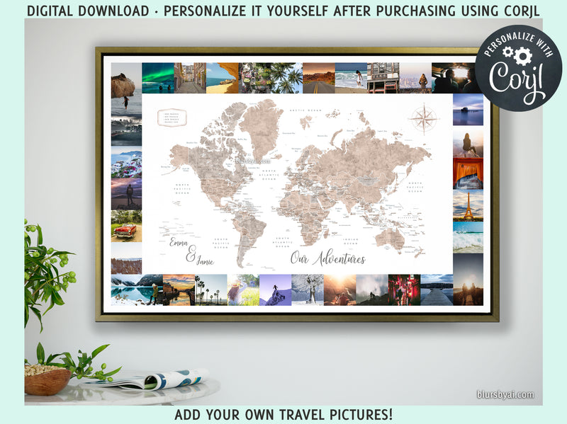 "Personalized PRINTABLE world map with travel pictures, ""Abey"", edit-it-yourself using CORJL - Instant download"